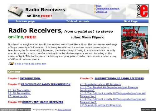 mikroElektronika : books : Radio receivers - Index of