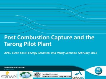 Post Combustion Capture and the Tarong Pilot Plant - Expert Group ...