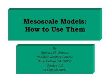 Mesoscale Models: How to Use Them