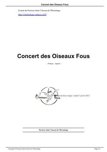 Concert des Oiseaux Fous - Paroisse Saint Vincent de l'Hermitage