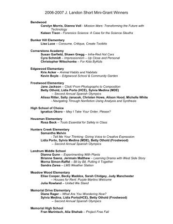 2006-2007 J. Landon Short Mini-Grant Winners - Spring Branch ...