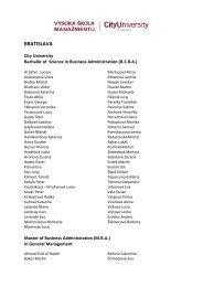 BRATISLAVA - Vysoká škola manažmentu