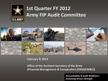 1st Quarter FY 2012 Army FIP Audit Committee - ASA(FM&C) - U.S. ...