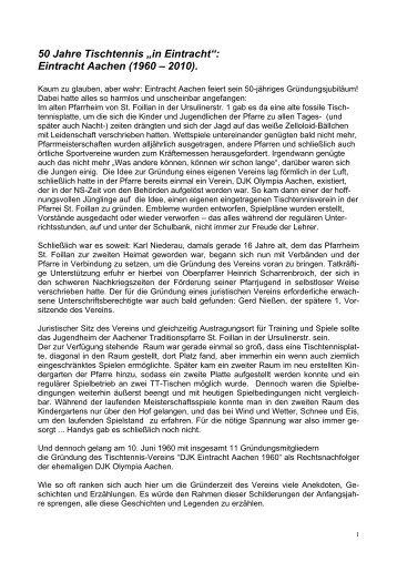 """50 Jahre Tischtennis """"in Eintracht"""": Eintracht Aachen (1960 – 2010)."""