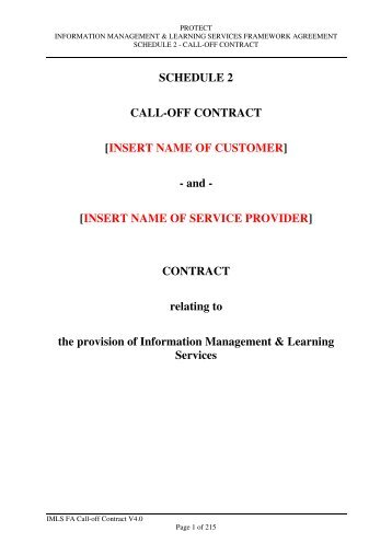 Call-Off Contract - Government Procurement Service - Cabinet Office
