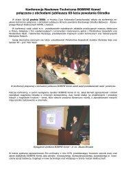 Konferencja Naukowo-Techniczna BOBRME Komel połączona z ...