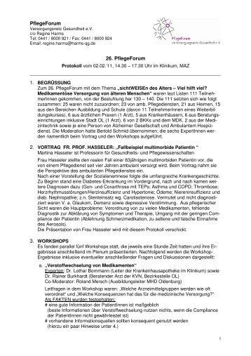 PflegeForum 26. PflegeForum - Versorgungsnetz Gesundheit eV