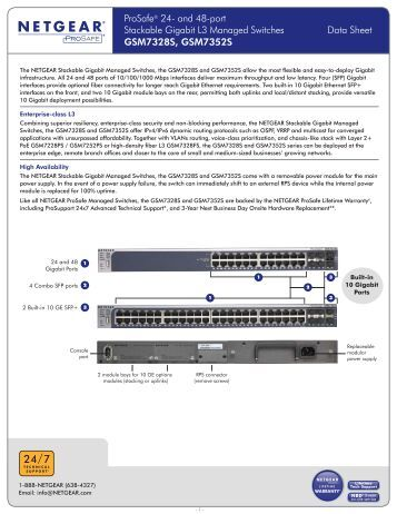 ProSafe® 24- and 48-port Stackable Gigabit L3 Managed ... - Netgear