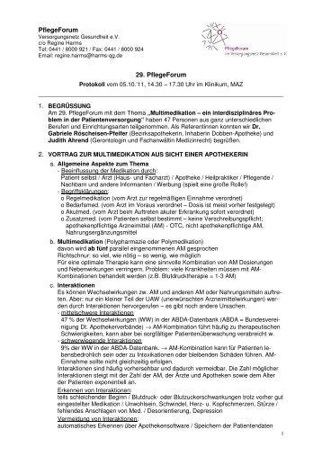 PflegeForum 29. PflegeForum - Versorgungsnetz Gesundheit eV