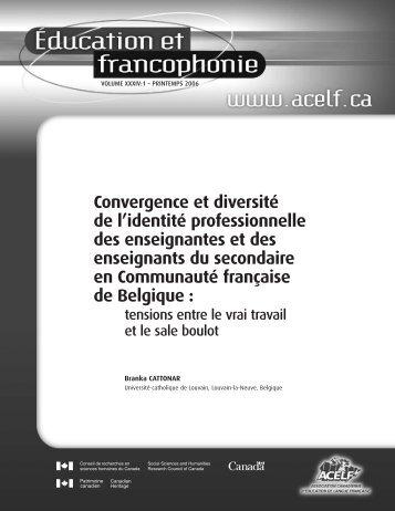 Convergence et diversité de l'identité professionnelle des ... - acelf