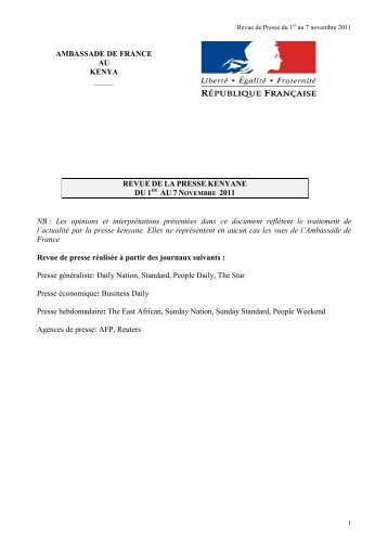 Revue de Presse du 1er au 7 novembre 2011 - Ambassade de ...