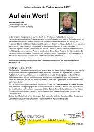 Informationen für Partnervereine 2007 Die Lern-Fußballschule