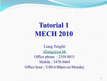 MECH101 Tutorial 1