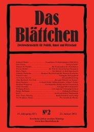 Das Blättchen, 2/2012. - Verlag für Berlin und Brandenburg