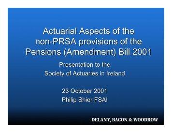 Bill 2001 - Society of Actuaries in Ireland
