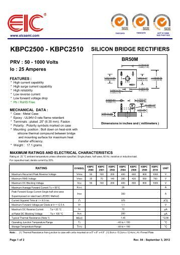 KBPC2510 Datasheet (PDF) - Won-Top Electronics