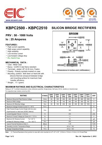 KBPC2500 - KBPC2510 : SILICON BRIDGE RECTIFIERS - PRV - EIC