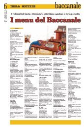 I menu del Baccanale