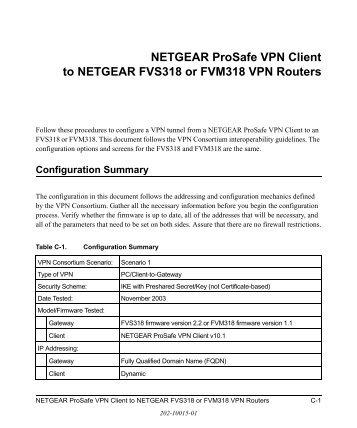 NETGEAR ProSafe VPN Client to NETGEAR FVS318 or FVM318 ...