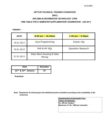 cp09 iv & vi semester supplementary 2013 - NTTF