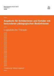 Logopädische Therapie - Volksschulamt - Kanton Zürich