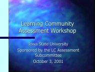 Fall 2001 Workshop - Learning Communities - Iowa State University