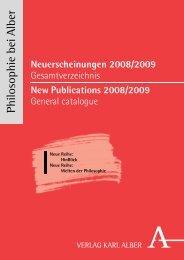 Neuerscheinungen 2008/2009 - Verlag Karl Alber