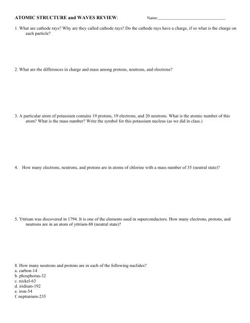 ATOMIC STRUCTURE REVIEW WORKSHEET - Avon Chemistry