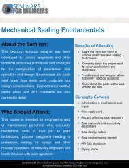 Mechanical Sealing Fundamentals - Seminars for Engineers