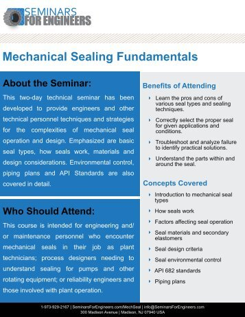 Mechanical Sealing Fundamentals - Seminars for Engineers