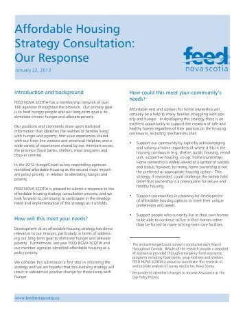 Affordable Housing Strategy Consultation: Our ... - Feed Nova Scotia