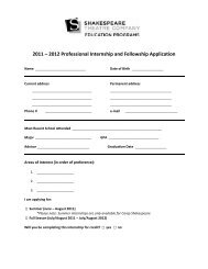2011 – 2012 Professional Internship and Fellowship Application