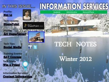 Information Services Winter 2012 Newsletter - West Chester University