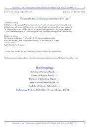 Kommentiertes Vorlesungsverzeichnis WS 1213 ... - Institut fuer Physik
