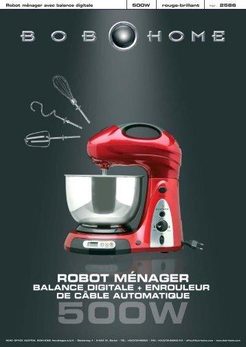 Robot ménager avec balance digitale 500W rouge ... - BOB HOME