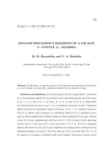 BANACH PRECOMPACT ELEMENTS OF A LOCALLY M−CONVEX ...