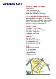kinoprogramm oktober 2012 - Kino & Café am Ufer