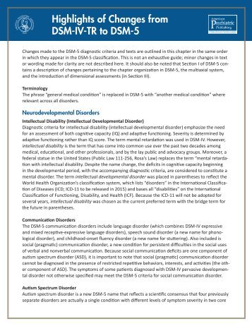 Highlights of Changes from DSM-IV-TR to DSM-5 - the UIC ...