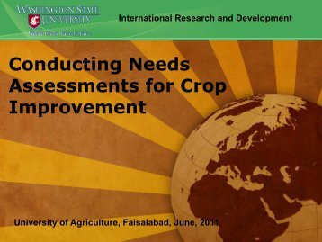 Conducting Needs Assessments for Crop Improvement