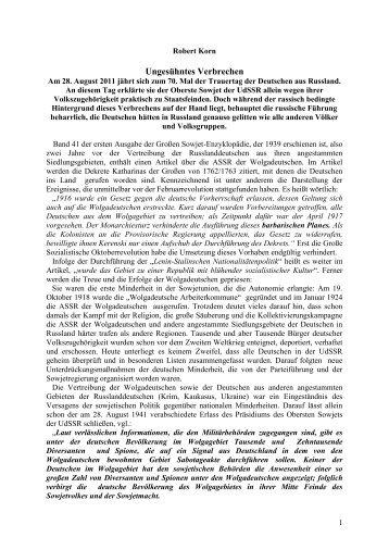 Die Vertreibung - Geschichte der Wolgadeutschen