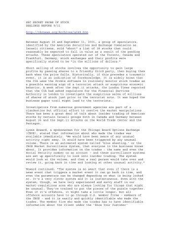 9/11 Insider Trading - Assassination Science