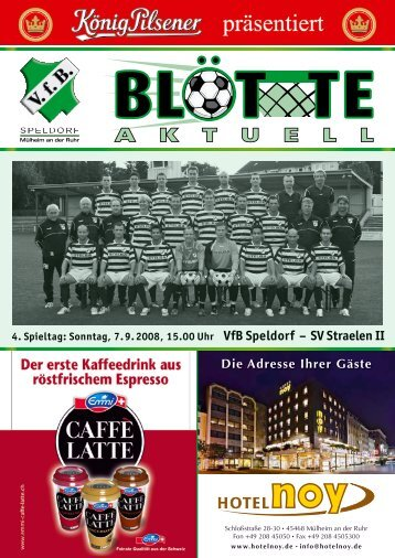 WER EN SIE SICHTBAR. B D Liebe Fans des VfB Speldorf