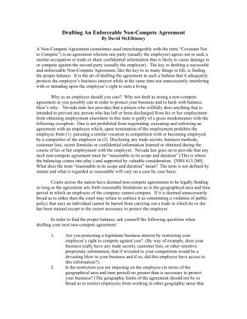 Drafting An Enforceable Non-Compete Agreement