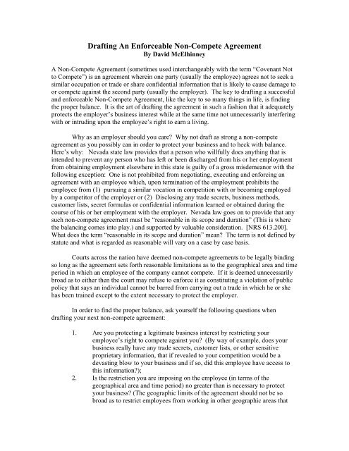 Drafting An Enforceable Non Compete Agreement