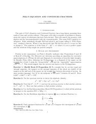 PELL'S EQUATION AND CONTINUED FRACTIONS 1. Introduction ...