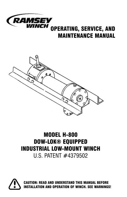 Ramsey H800 Dow-Lok Winch on