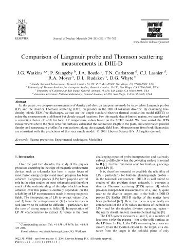 Comparison of Langmuir probe and Thomson scattering ...