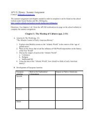 AP US History: Summer Assignment Chapter 1 - South River High ...