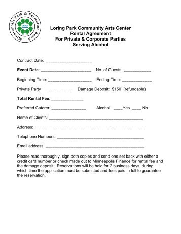 Old City Park Rental Agreement Individual Organization