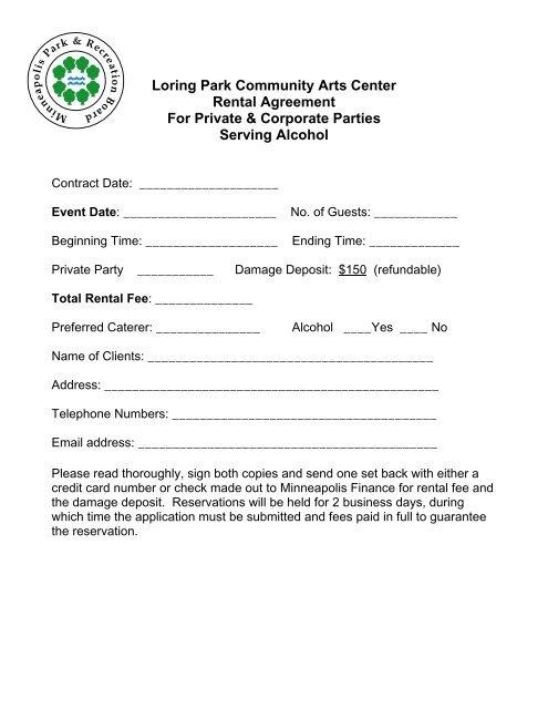 Loring Park Community Arts Center Rental Agreement For